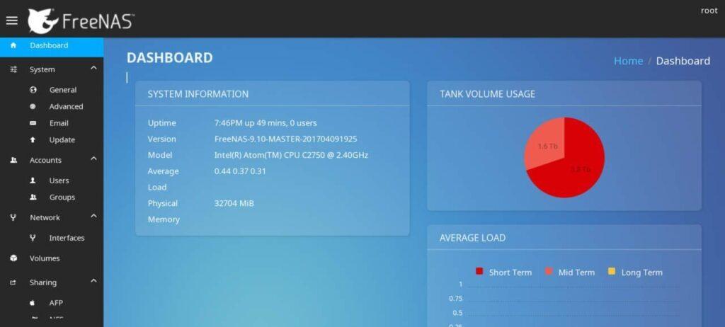 FreeNAS 9.10.3のWEB GUI